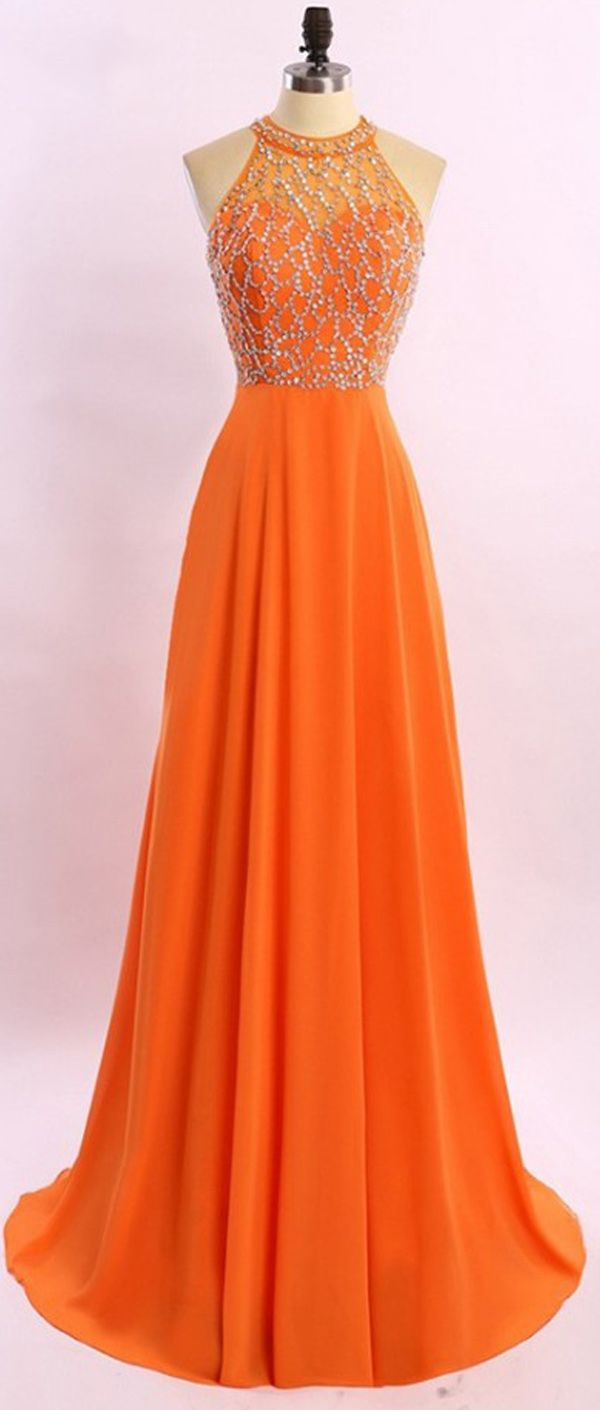 A Line Princess Orange Chiffon Prom Dresses,High Neck Long Prom Dress,See Through Back Beads Evening Dress Prom Gowns,Cheap Woman Evening Gowns,Graduation Dresses,Party Dresses
