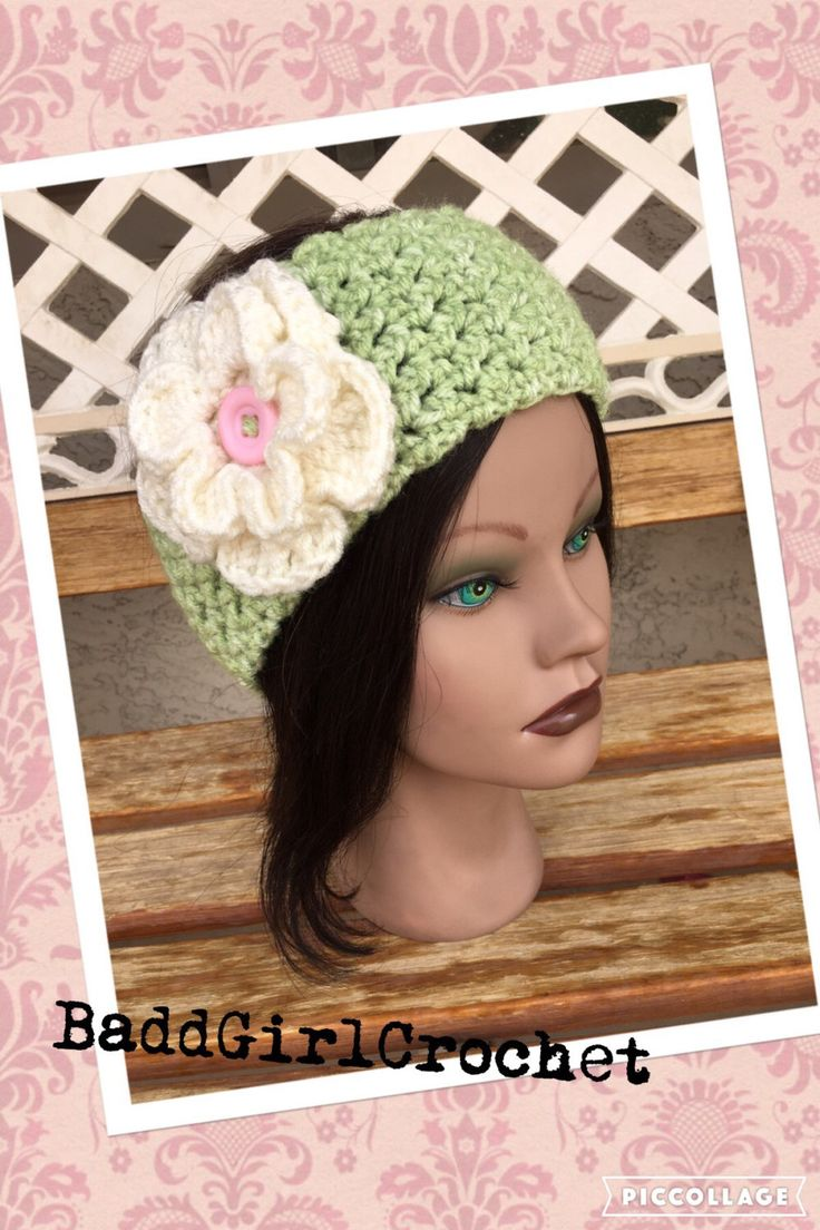 Sweet Spring Light Green Ear Warmer/Headband w/flower & Button closure Adult/Teen size by BaddGirlCrochet on Etsy https://www.etsy.com/listing/246757987/sweet-spring-light-green-ear