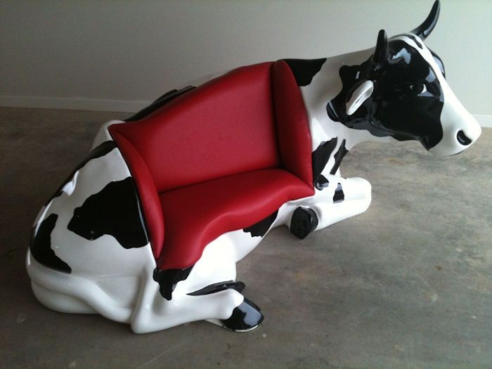 Couch Cow - the latest in the MOOOVING ART outdoor gallery at the Shepparton Art Museum