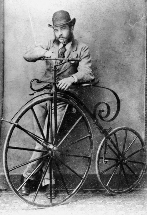 Dapper man with high wheeler. Likely date from 1870-1890.