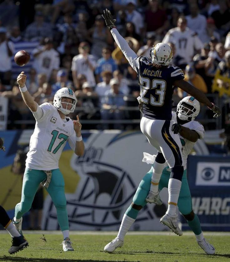 Dolphins vs. Chargers:  31-24, Dolphins  -  November 13, 2016  -     Miami Dolphins quarterback Ryan Tannehill, left, passes over San Diego Chargers strong safety Dexter McCoil during the first half of an NFL football game in San Diego on Nov. 13, 2016. Gregory Bull AP