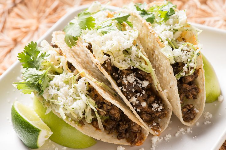 Mushroom and Beef Tacos with Salsa and Cotija Cheese for Super Bowl Parties