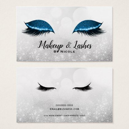 Blue Sparkle Makeup Eyelashes Lashes Silver Glam Business Card - trendy gifts cool gift ideas customize