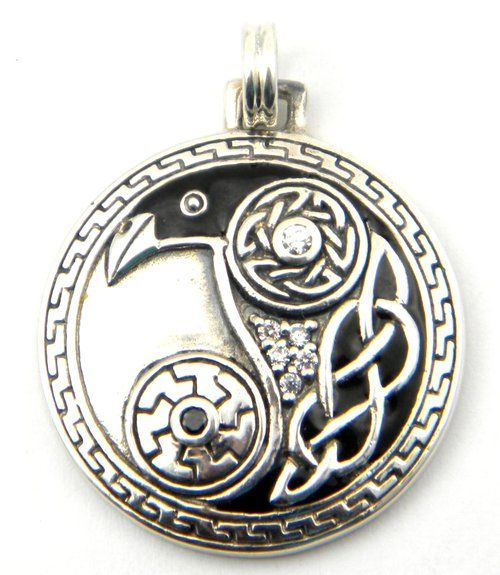 Sterling Silver Celtic Raven Odin Knotwork Disk Charm - This uniquely beautiful Celtic raven pendant is a perfect gift for those who love the mystery and magic of the raven. $65.00