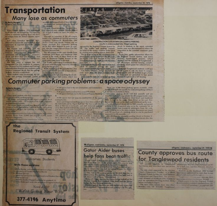 """News Articles from the Alligator, RTS ad """"Transportation.  Many lose as commuters"""" -9/25/78 """"Commuter parking problems: A space odyssey"""" -9/28/78 """"Gator Aider buses help fans beat traffic"""" -9/27/78 """"County approves bus route for Tanglewood residents"""" -9/27/78"""