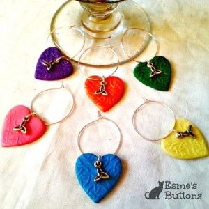 Set of 6 Handcrafted Celtic Wineglass Charms (Triquetra)