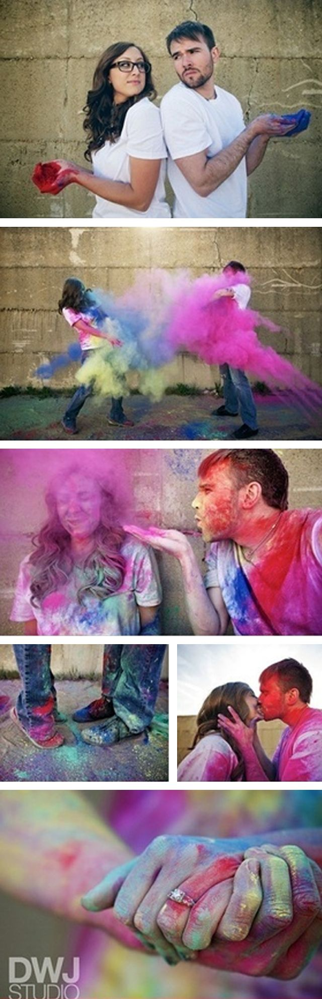 I like this #engagement shoot idea.  May want to research how to clean the ring beforehand to ensure no damage.  Would also want to do this by a body of water, or have a water fight afterwards to get clean.