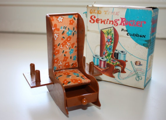 Vintage Sewing Rocking Chair Pin Cushion new in original box lovelliot