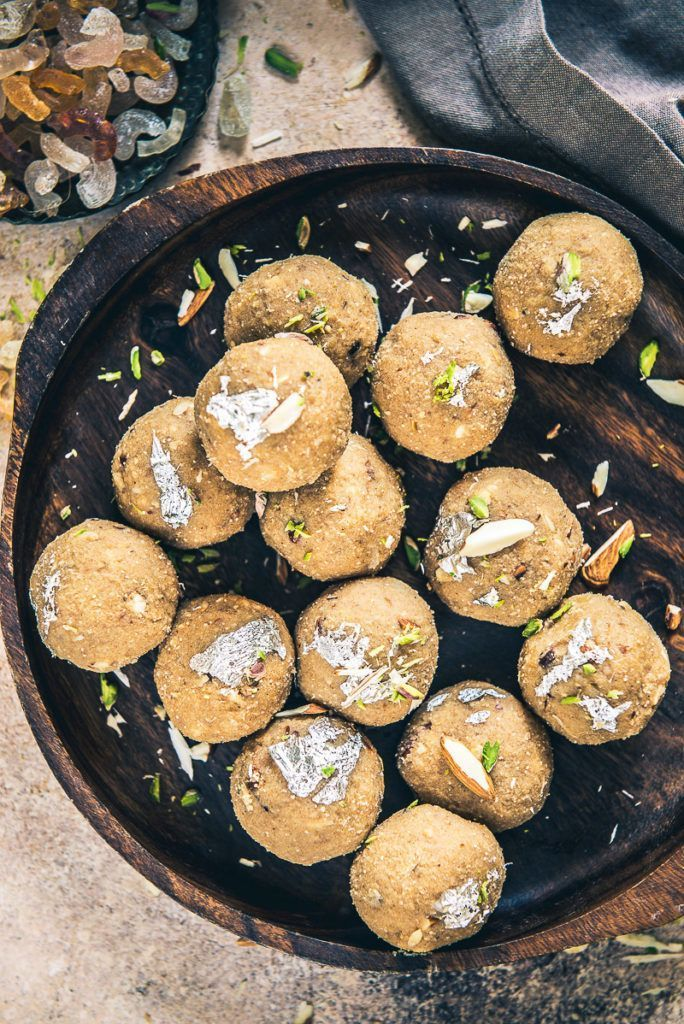 Made using edible gum resin (gond), whole wheat flour, heaps of makhana, chironji, various seeds and enriching dry fruits, Gond ke Ladoo is uber healthy. #Indian #Sweet #Dessert #Holi #Diwali #Recipe #Festival #Food #Photography #Styling