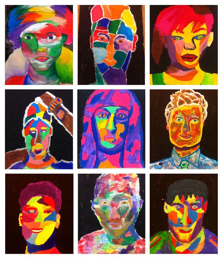 Portret van idool schilderen met veel kleur, klas 1 beeldende vorming