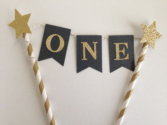 1st Birthday Cake Bunting Topper Black and by SweetEscapesbyDebbie