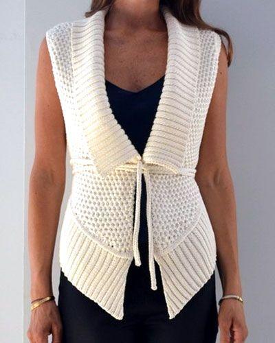 Жилет женский. Схема вязания спицами сетчатого патентного узора.