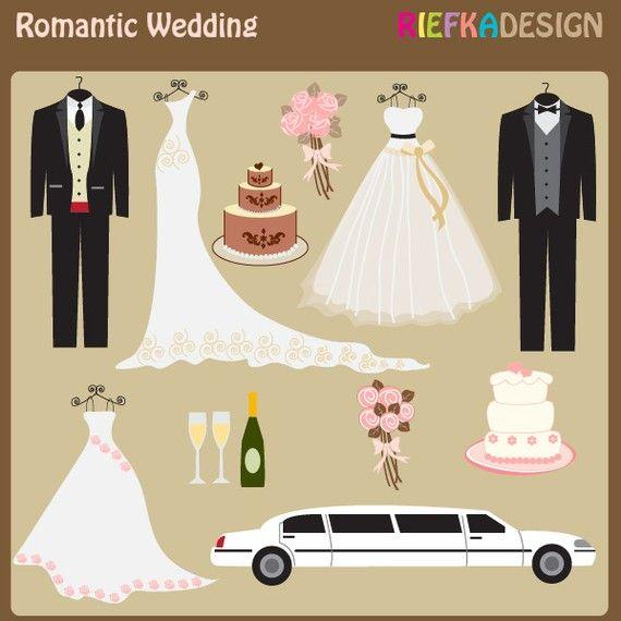 Romantic Wedding Clipart Set