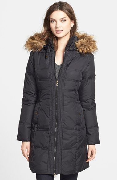 Larry Levine Faux Fur Trim Quilted Coat with Removable Hood available at  #Nordstrom