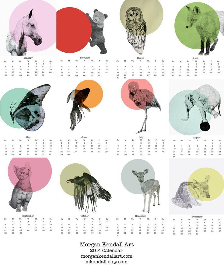 Animaux calendrier 2014 par mkendall sur Etsy