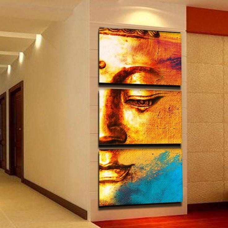 ree shipping Gold buddha oil painting wall art paintings picture paiting canvas paints home decor Giveaways wall sticker