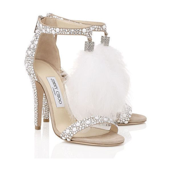 White Suede and Hot Fix Crystal Embellished Sandals with an Ostrich... found on Polyvore featuring shoes, sandals, heels, jimmy choo, white heel sandals, jimmy choo sandals, heeled sandals and white suede shoes