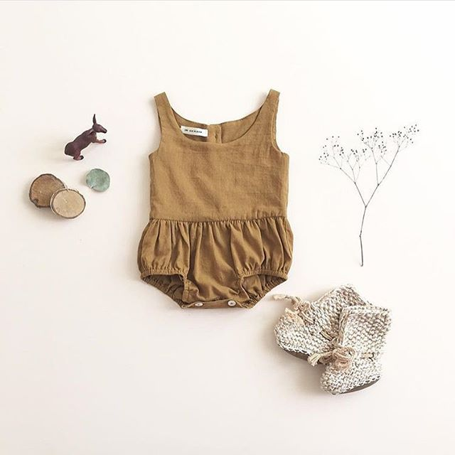 Calling all woodland sprites in sweet rompers, spring is about to be sprung!  @minikin has the magic touch #puffandploom  Lois playsuit / ochre / SS16