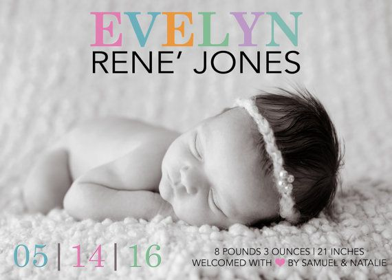 Birth Announcement - Photo Birth Announcement - Custom Birth Announcements - Birth Announcement Cards - Birth Announcements, Colorful