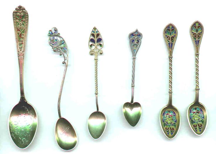 """All plique-a-jour pieces are custom made & rare. Most spoons are less than 5"""" in length. Few confirmed American-made plique-a-jour is to be found. The majority of the spoons are from France & Scandinavia, also Austria, Russia & China. It's possible that some pieces shown here with American city names may have been produced in another country. Many pieces of plique-a-jour are not marked as to origin or metal content but they are almost always a good grade of silver or gold wash over silver."""