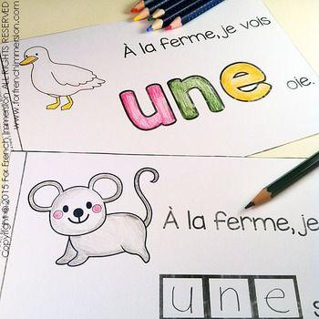 For French Immersion Emergent Reader - Je vois UNE… (vache, poule, etc) - en français