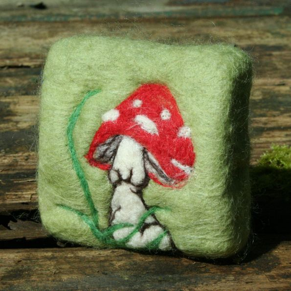 Felted soap, needle felted 'Spotted Toadstool' design