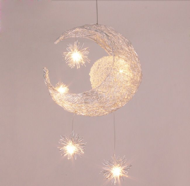 Moon Star Child Bedroom Lighting Pendant Lamp Chandelier Ceiling Crescent Lights #Unbranded #ModernCute