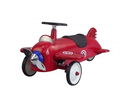 Ride On Aeroplane ~ Up, up and away!  Perfect for all those budding pilots out there, this gorgeous ride on aeroplane has a chrome effect propeller and target stickers on the wings and sides.  Made of sturdy steel with long lasting tyres, this lovely plane can easily be ridden for hours on end.  £94.99