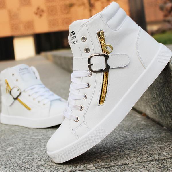 PU Leather Punk Hip Hop Shoes Men White
