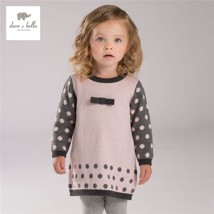 DB4113 дэйв белла осень девочка точки жаккардовые платья милый розовый платье текстиль купить на AliExpress