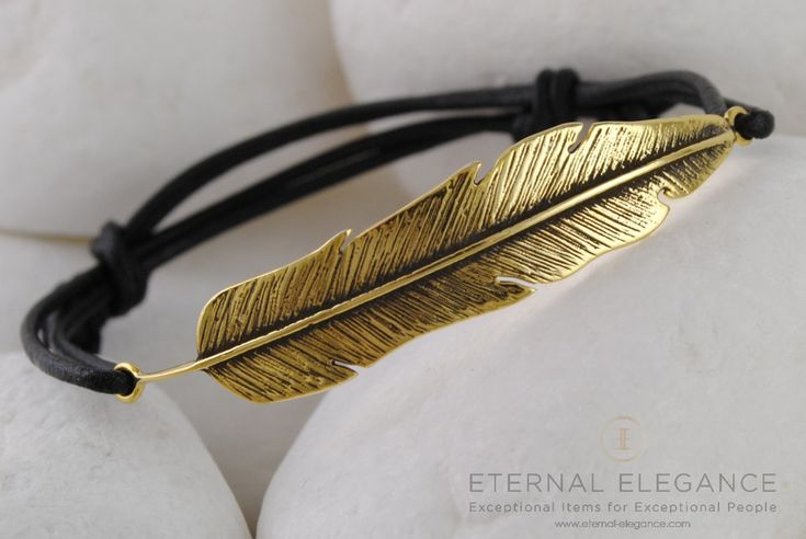 Impressive gold plated real leather bracelet from the A. Leondarakis collection. #gold #feather #bracelet #eternalelegance