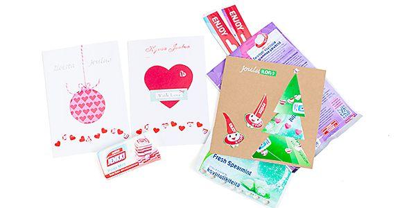 Kierrätys materiaalista joulukortteja.   Ahkeralle purkansyöjälle tyhjiä purkkapusseja ja taskupakkauksia kerääntyy nopeasti. Todellinen Jenkki-purkkafani voi askarrella pakkauksista helposti persoo...