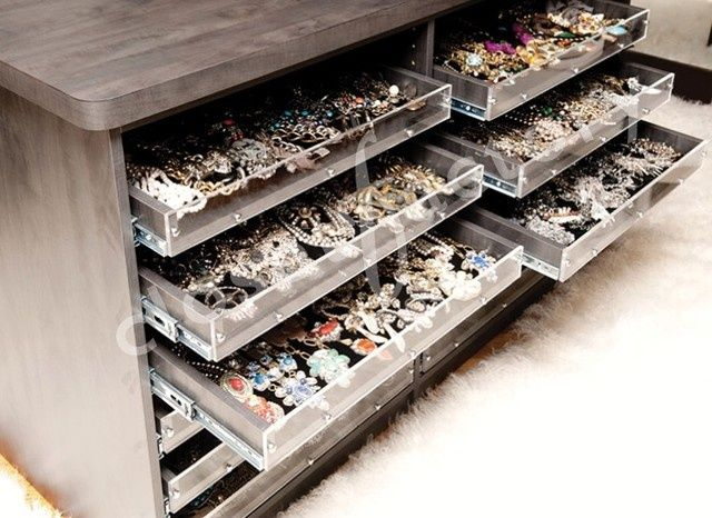 jewelry storage drawers in closet. | Always Accessorize