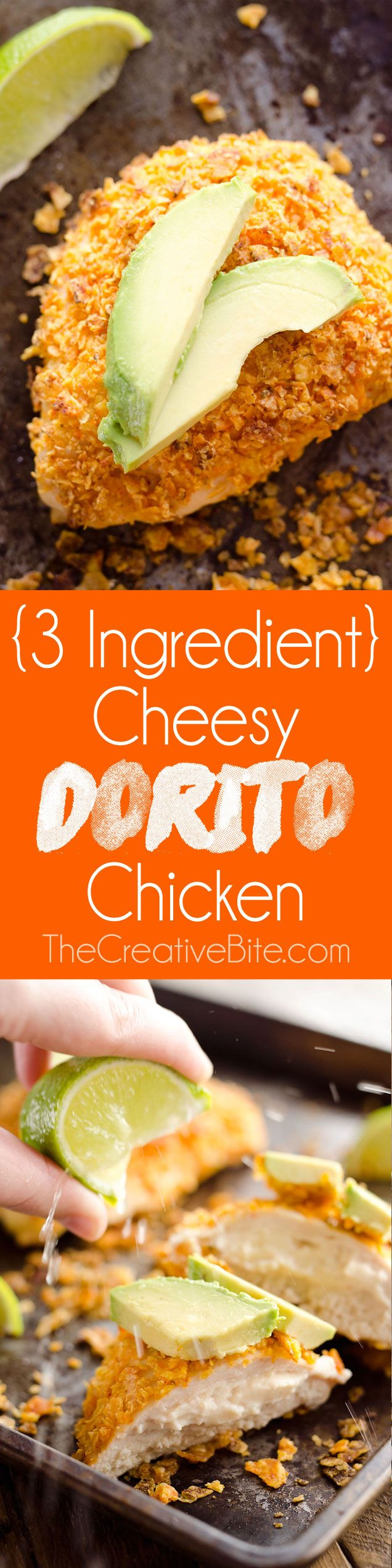 {3 Ingredient} Cheesy Dorito Chicken is a light and delicious dinner with tender chicken breasts stuffed with a creamy queso fresco cheese and coated in crunchy Dorito chips. #Chicken #Easy #Dinner