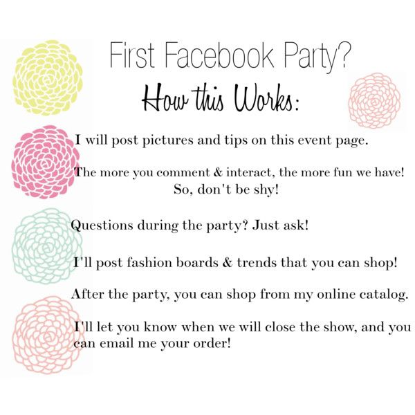 """Facebook Party """"How this Works"""" www.mythirtyone.com/574303"""
