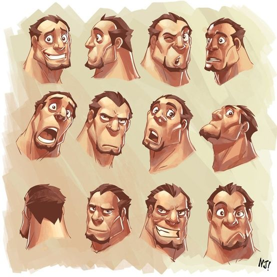 Buff guy character expressions by Malaysian artist NjaY