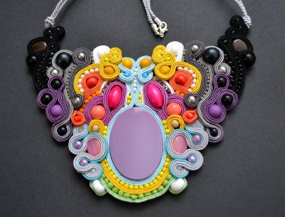 SOLD OUT!!!! Delicate and Colorful necklace made by soutache embroidery / elegant and perfect for spring and summer days