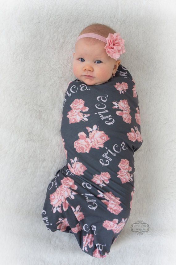 Vintage Floral Design Personalized Swaddle Blanket by AudreysBear