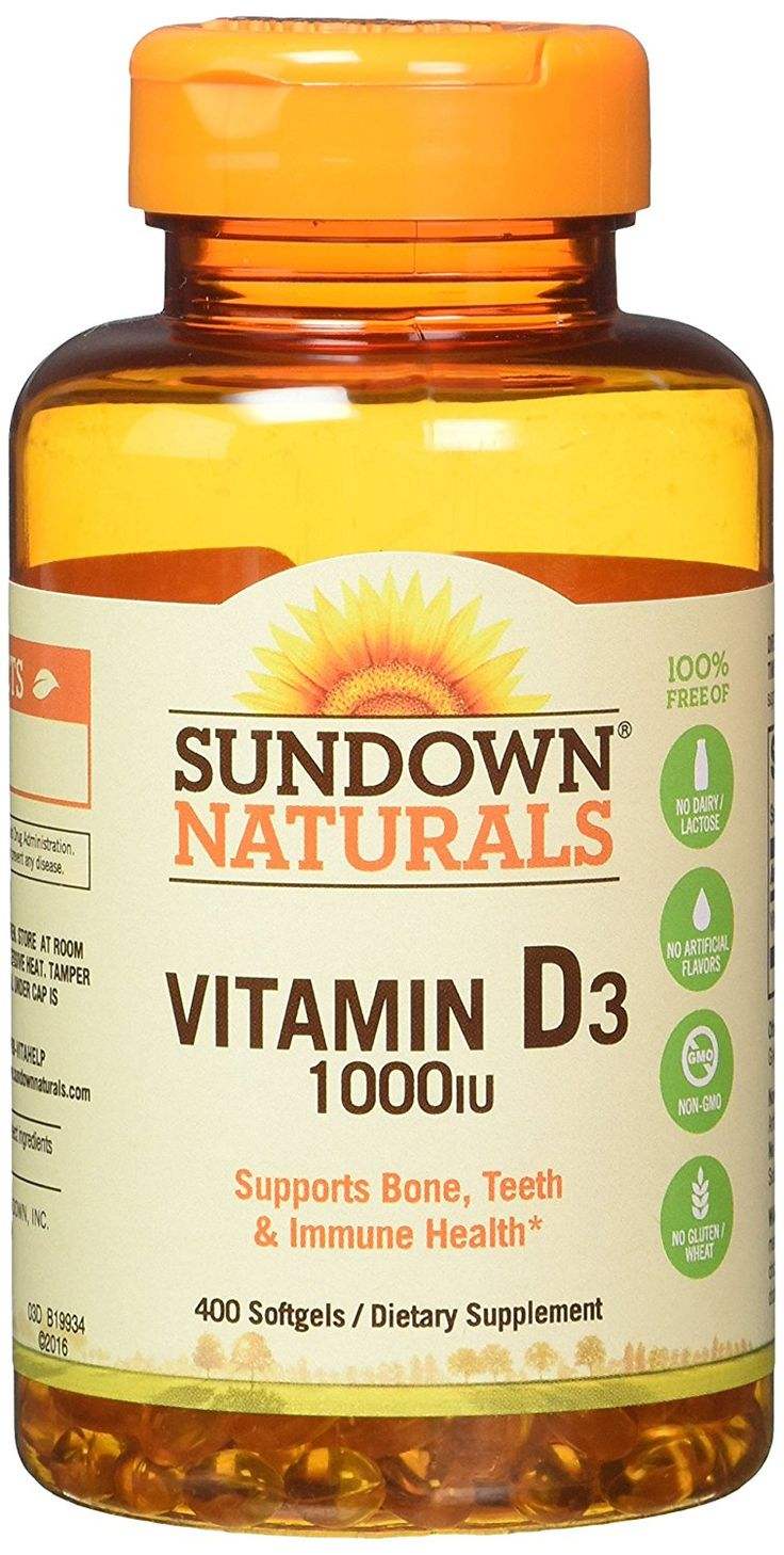 Sundown Naturals Vitamin D3 1000 IU, 400 Softgels ** Be