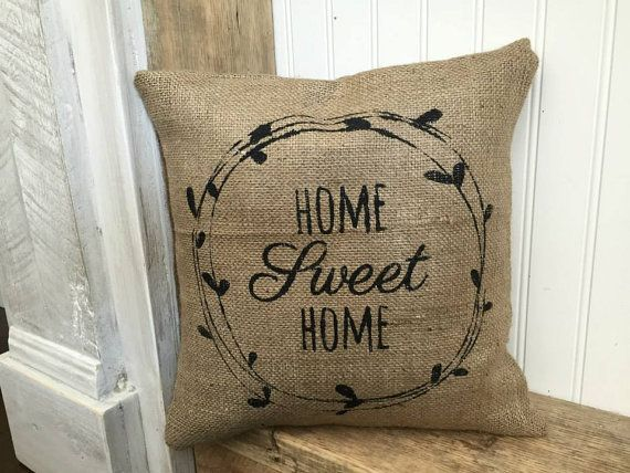 Home Sweet Home Burlap Pillow cover Rustic Decor by Meyberry