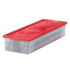 Store your gift wrapping paper away in your basement with this Plastic Wrapping Paper Storage Box.