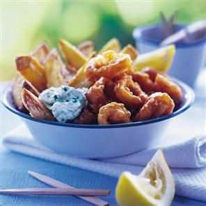Paprika-battered squid, chunky chips and tartare sauce Recipe | delicious. Magazine free recipes