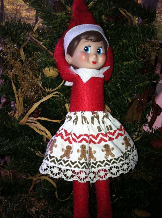 Christmas Clothes on a Shelf White Gingerbread Men Elf Skirt with Lace on the Hem