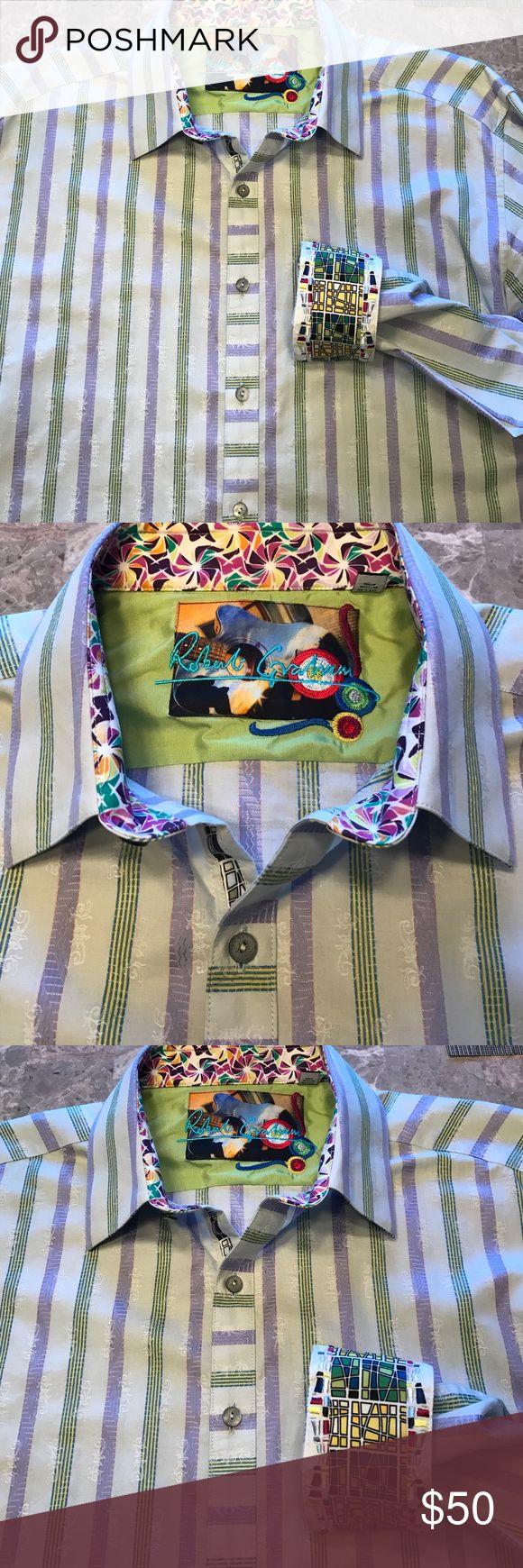 Robert Graham Shirt Green, lavendar stripe plus fun design.  Like new Robert Graham Shirts Dress Shirts