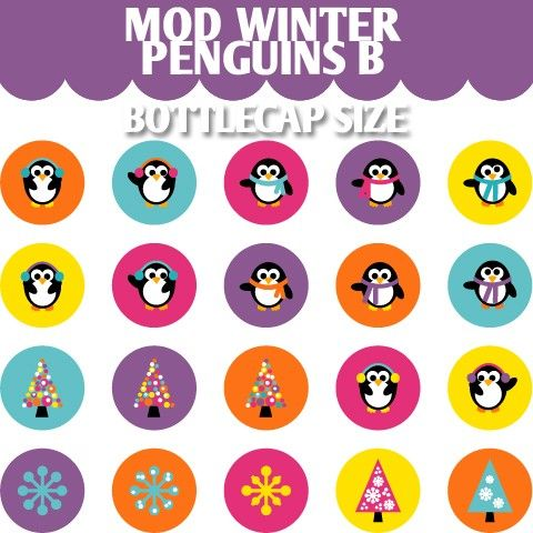 Mod Winter Penguins B 02147  Printable Circle  by BlessedShop