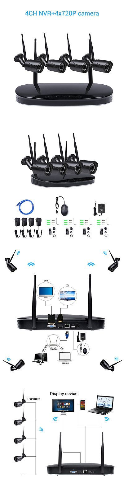 Security Cameras: Hd 720P Wifi Wireless Ip Camera System 4Ch Nvr Outdoor Security Home Video -> BUY IT NOW ONLY: $115.99 on eBay!