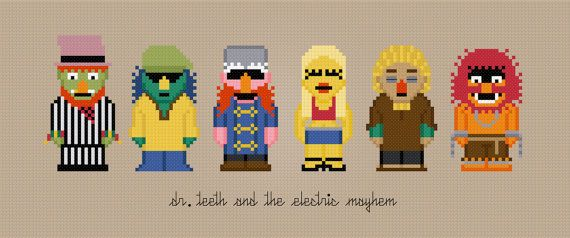 Muppets cross-stitch pattern: Dr Teeth and the Electric Mayhem Band @cheesyxe one day I will make this