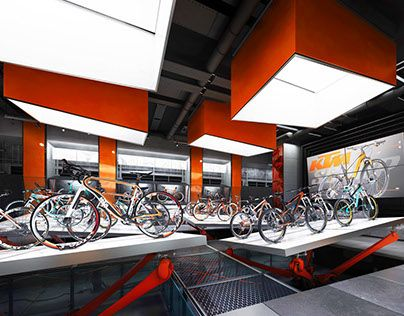 Ознакомьтесь с этим проектом @Behance: «KTM BICYCLES conceptual SHOWROOM» https://www.behance.net/gallery/30369201/KTM-BICYCLES-conceptual-SHOWROOM