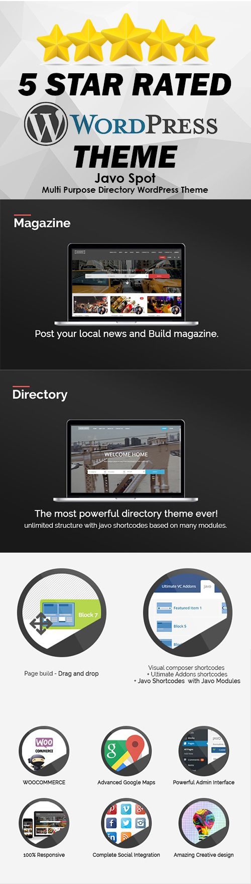 A Multiple Purpose Directory Wordpress Theme which you can create various styles. Based with Visual Composer, the famous Drag and Drop plugin and with plenty of shortcodes. #affiliate