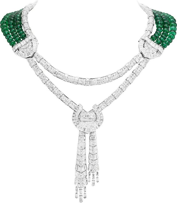 "Van Cleef & Arpels ""Émeraude En Majesté"" high jewelry collection Drapé Majestueux necklace in white gold, diamonds and 150 Zambian emerald beads for a total of 244.44 carats"